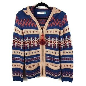 Anthropologie Sparrow Fairisle Knit Zip Sweater